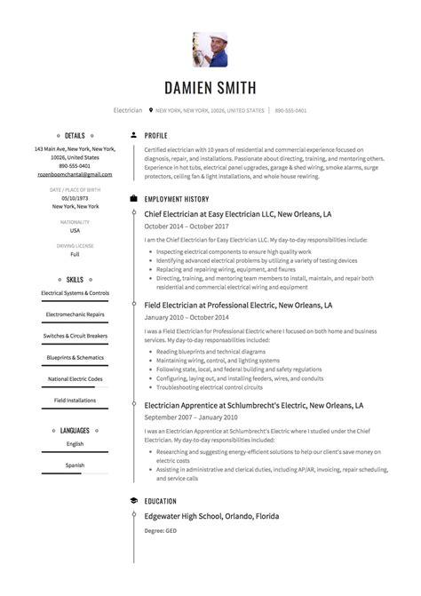 Electrician Resume Sample and Skills List thebalance