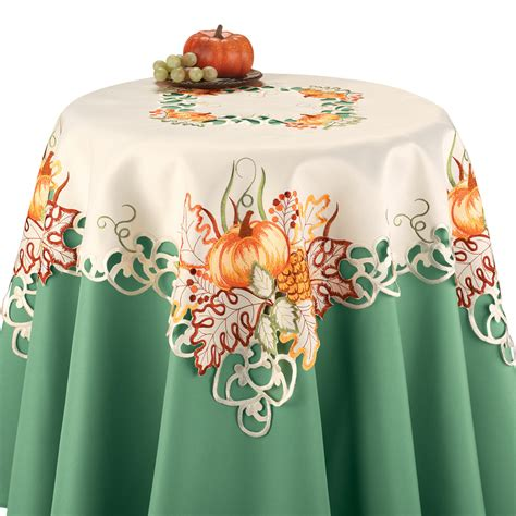 Embroidered Halloween Pumpkin Table Linens from