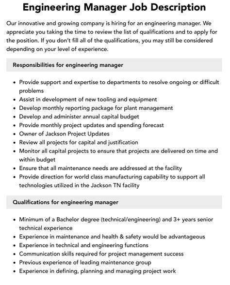 Engineering Manager Job Description Duties and Jobs Part 1