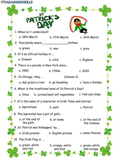 English Exercises Saint Patrick s Day