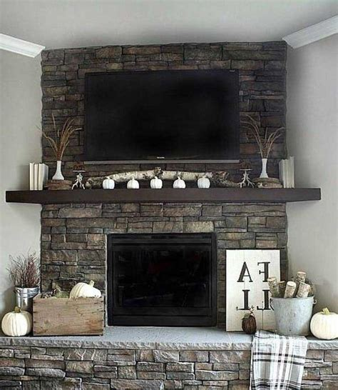 Entrancing Stone Fireplace Design Ideas With Tv Above