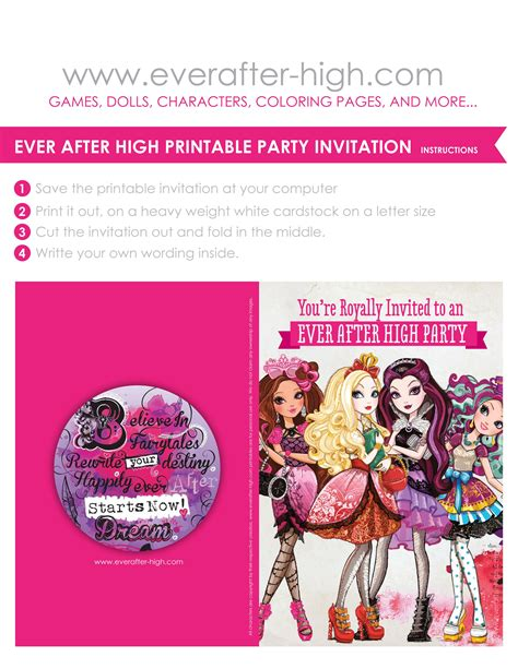 Ever After High printable party invitation Ever After High