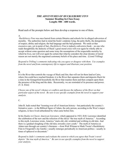huck finn essays civilization versus dom huck finn alevel essay on huck finn compucenter coadventures of huck finn essay essay topicsexample essays adventures of huckleberry