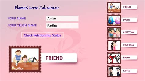 FLAMES The Love Test Game Love Meter Love Calculator