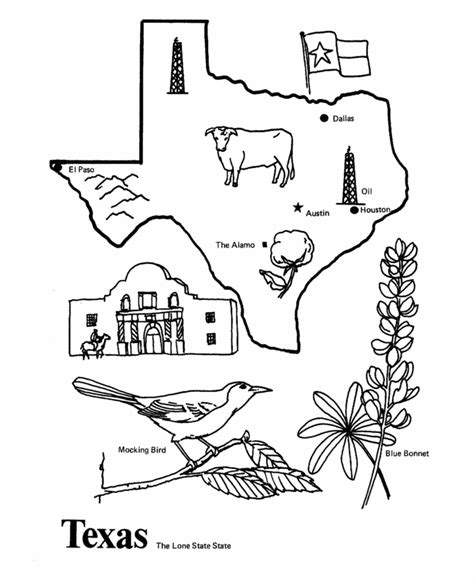 FREE printable Texas State Symbols Coloring Book Kids House