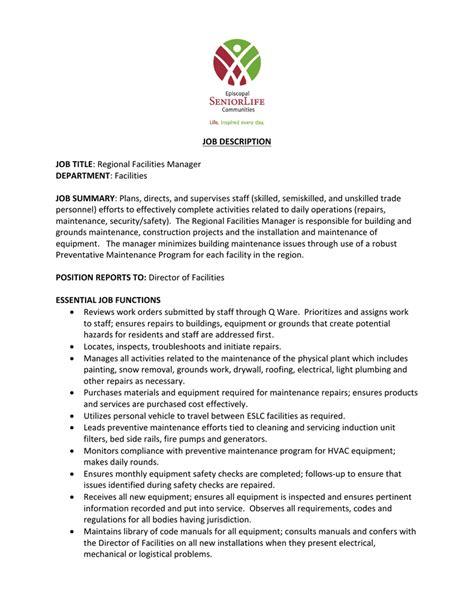 facilities manager job description template  this logistics    facility manager job description and duties