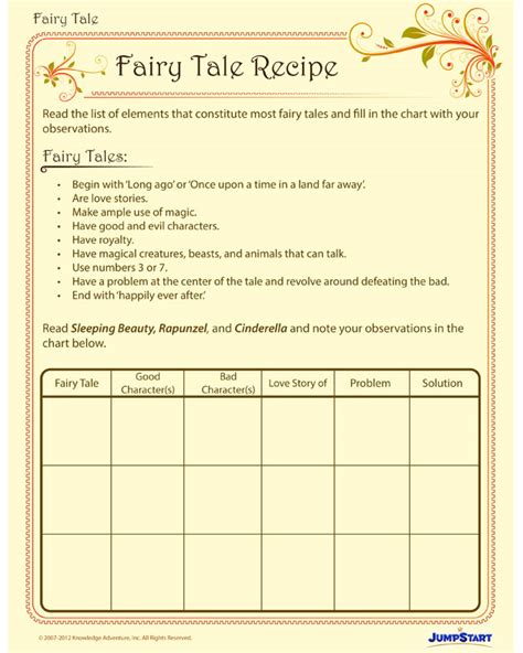Fairy Tale Recipe Free Fairy Tale Writing Worksheet for