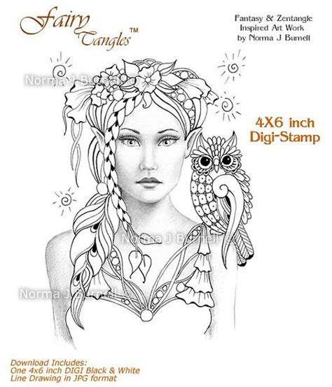 Fairy Tangles Coloring Sheets Digi Stamps Etsy