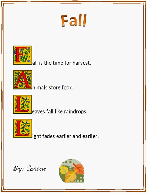 Fall Acrostic Poem K 5 Computer Lab oakdome