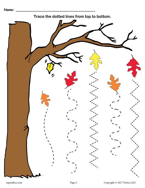Fall trace line worksheet for kids Crafts and Worksheets