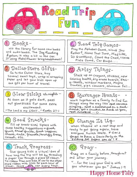 Family Road Trip Printables Tips Activities Music