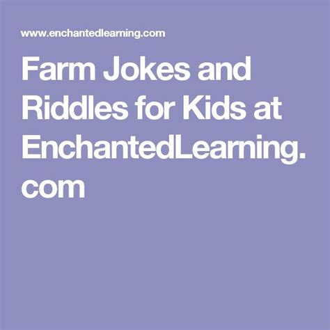 Farm Jokes and Riddles for Kids at EnchantedLearning