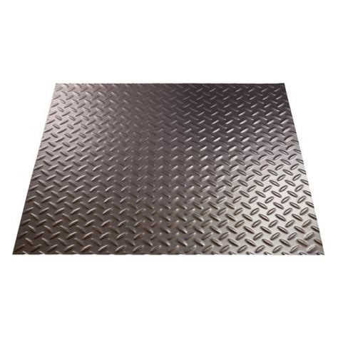 Fasade Chrome Diamond Plate Vinyl Wall Panel 4 x 8 at
