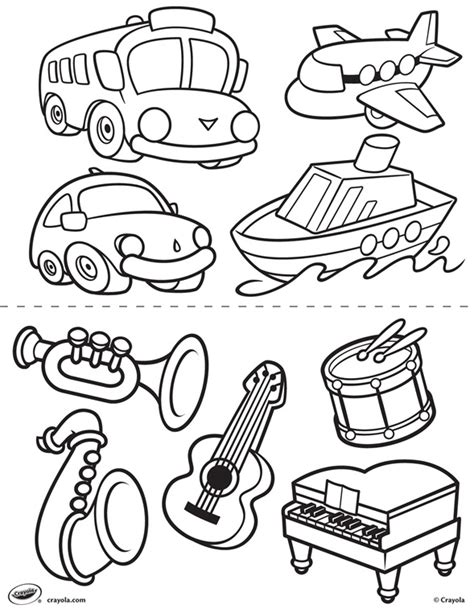 First Pages Transportation and Instruments Coloring Page