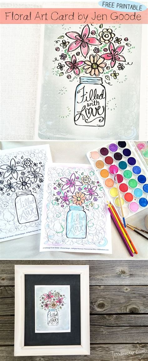 Floral Art Card Printable and Coloring Page 100 Directions