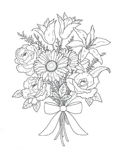 Flower Bouquet Coloring Pages Bouquet Of Flowers