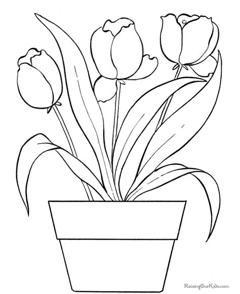 Flower coloring pages of tulip 005 Raising Our Kids