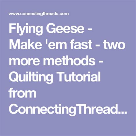 Flying Geese Make em fast two more methods Quilting