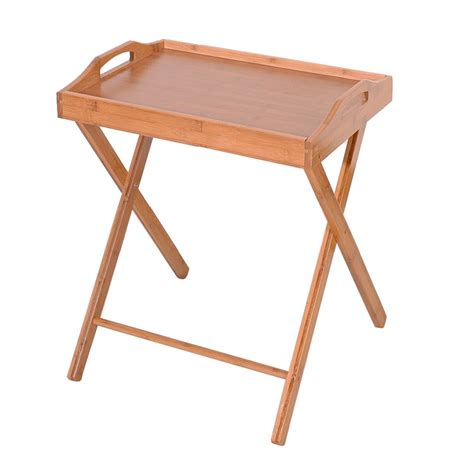 Folding Bamboo Bedside Table Foldable TV Table Tray Work