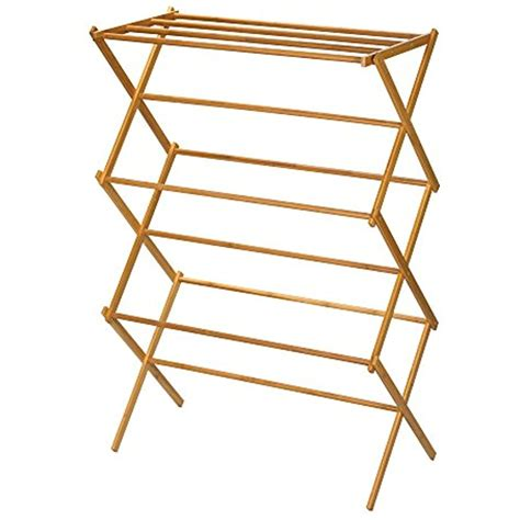 Folding Laundry Clothes Drying Rack Bamboo Wood