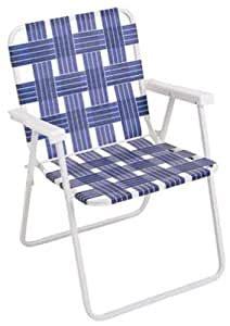 Folding Web Chair White Powder Coated Steel Frame Blue