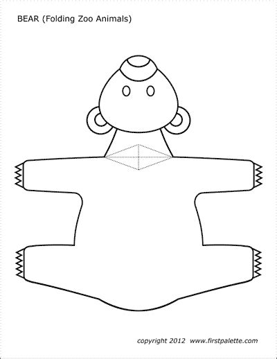 Folding Zoo Animals Printable Templates Coloring Pages