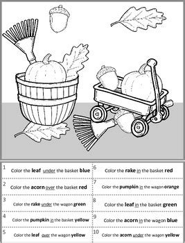 Following Directions A coloring page with Position Words