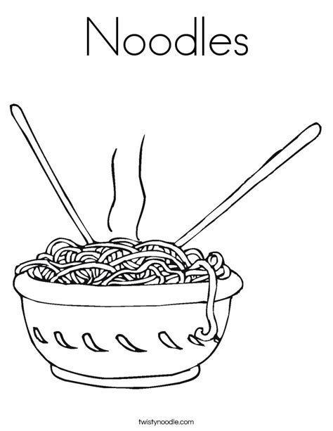 Food Coloring Pages Twisty Noodle