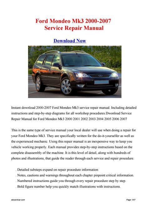 Ford Mondeo Mk3 2000 2007 Service Repair Manual
