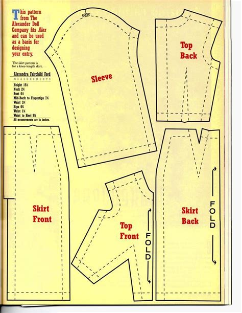 Free Barbie doll clothes patterns for a dress