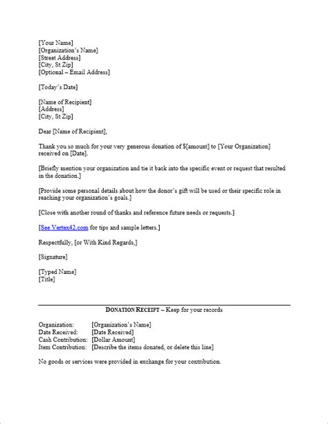 Free Donation Thank You Letter Template vertex42