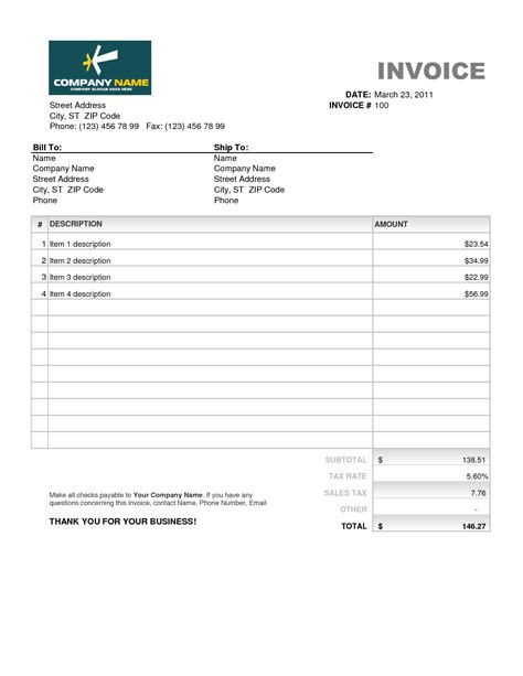photo : invoice template microsoft office images, Invoice templates