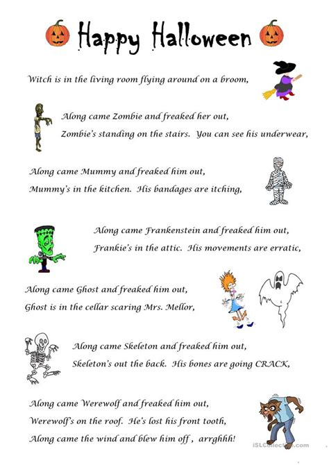Free Halloween for Kids Songs Chants Worksheets