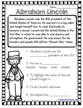 Free Presidents Day Short Stories Abraham Lincoln