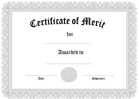 Free Printable Certificates of Appreciation or Merit