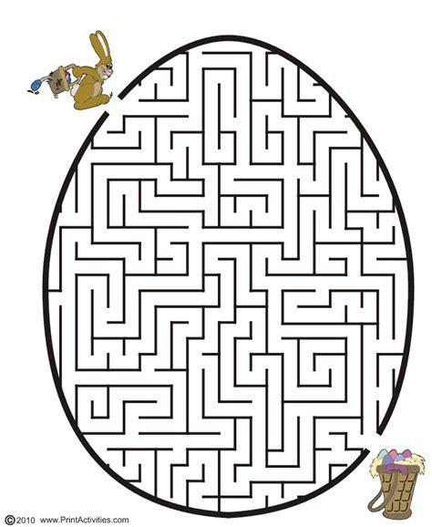 Free Printable Easter Maze Egg shape