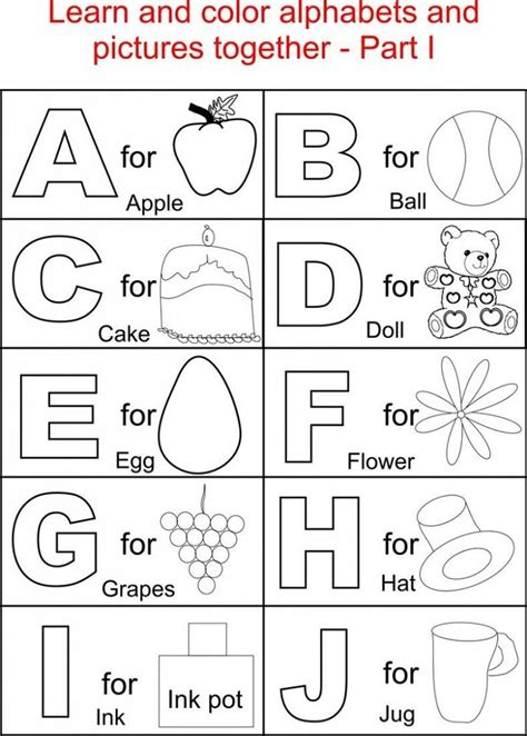 Free Printable English Coloring Pages Reading Alphabet