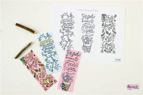 Free Printable Fall Coloring Page Bookmarks Dawn Nicole