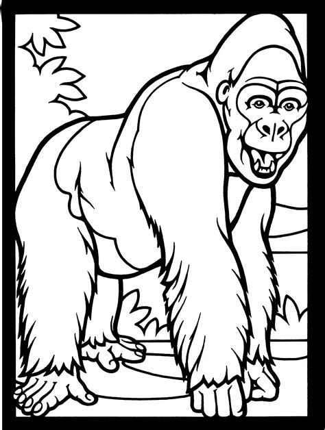 Free Printable Gorilla Coloring Page for Kids