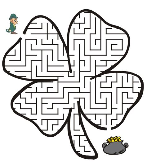 Free Printable St Patrick s Day Maze Four Leaf Clover