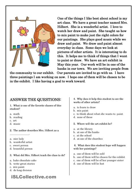 Free Second Grade Worksheets for English Reading and