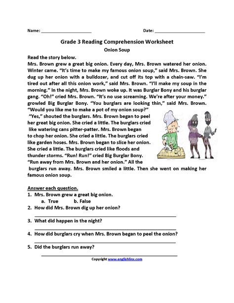 Free Third Grade Worksheets for Reading English Science