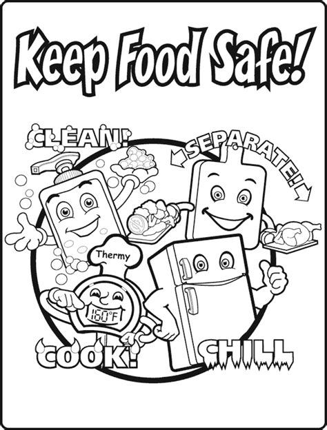 Free coloring pages of health and safety food science