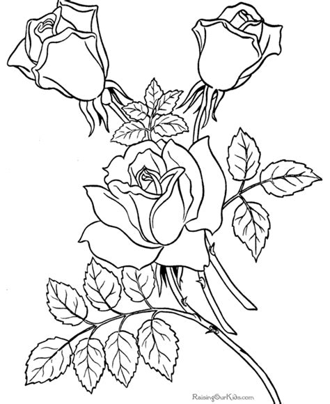 Free coloring pages sheets of Roses 007 Raising Our Kids