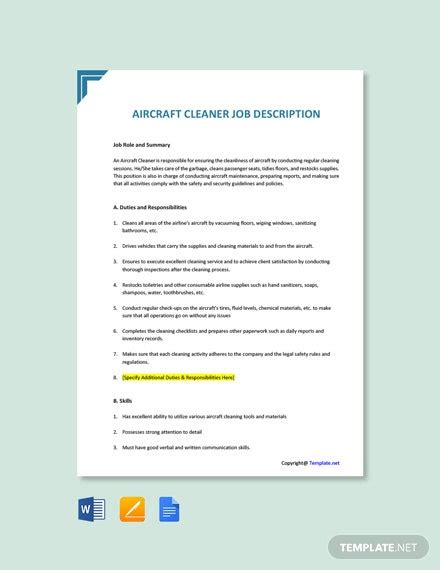 Free job descriptions for thousands of jobs from cleaner