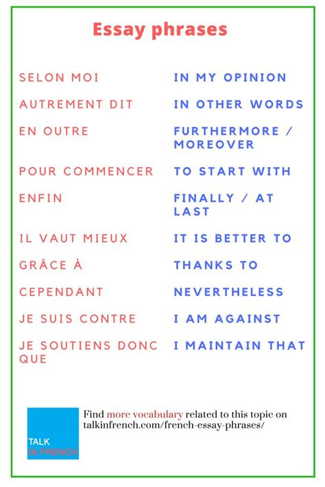 Useful French Vocabulary  amp  Expressions for the Holiday Season Writing essays in French Cheat Sheet from JAM  Useful expressions to help structure your A level French essay