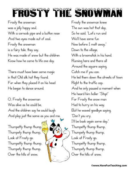 Frosty the Snowman Lyrics 41051