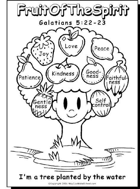 Fruit of the Spirit Coloring Page Bible Story Printables