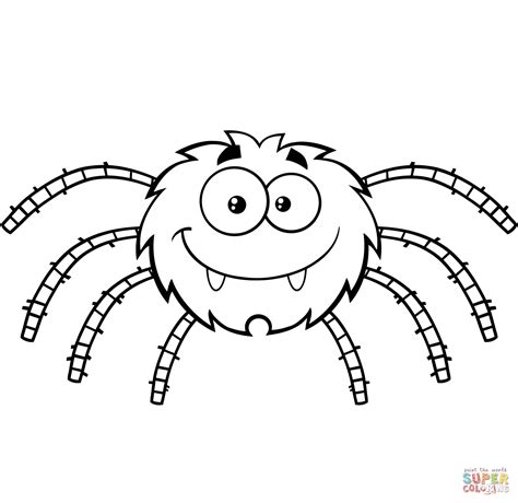 Funny Cartoon Spider coloring page Free Printable