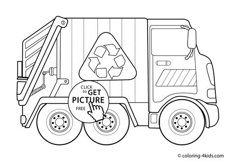 Garbage Truck Transportation Coloring Pages for kids